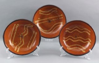 3 Antique 19thc Pennsylvania Primitive Slip Decorated Redware Pottery Plates,  Nr