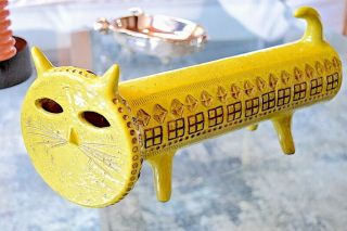 Aldo Londi Yellow Cat Rare Limited Edition Bitossi Made In Italy