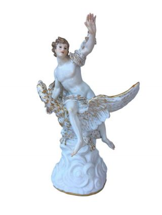 Antique Meissen Porcelain Group Of Ganymede