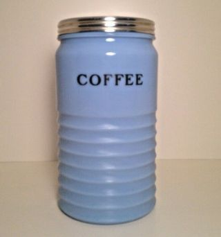"""Vintage Jeannette Delphite Blue Coffee Canister,  Large Size 8 """" Tall,  Rare"""
