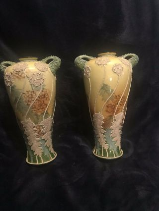 "Nippon Morriage Maple Leaf 2 Matching 9"" Vases,  Hand Painted Antique"