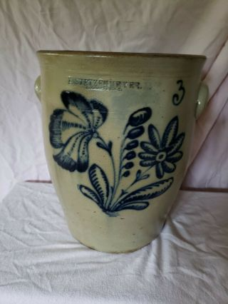 F.  Stetzenmeyer Rocester Ny Stoneware Cream Pot Cobalt Blue Huge.