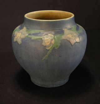 1927 Sadie Irvine Newcomb College Cabinet Vase,  Jonquil Relief Matte Blue 6 3/4 ""