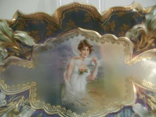 "Vintage Rs Prussia Handpaint Lady Dish 9 1/2 "" Signed Rs Prussia - Exc"
