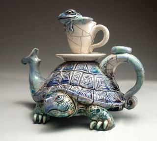 Turtle Frog Teapot Folk Art Pottery Sculpture By Face Jug Maker Mitchell Grafton