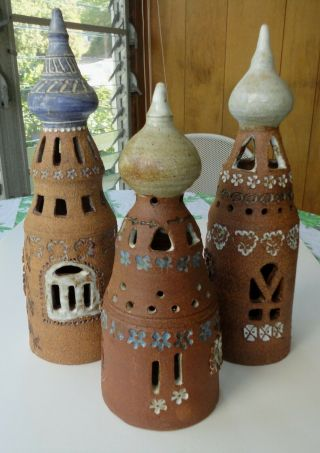 3 Vtg Modern Nancy Pawel Stoneware Studio Pottery Enchanted Castle Statue Texas
