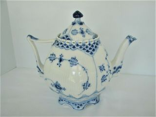 Royal Copenhagen Blue Fluted Full Lace Gargoyle Teapot 1117 1St Quality 12