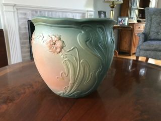 Early Weller Matte Green Art Nouveau Floral Jardiniere Circa 1904 Signed Script