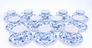 12 Cups & Saucers 1035 - Blue Fluted Royal Copenhagen Full Lace - 1:st Quality