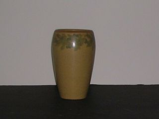 Marblehead Pottery Vase Decorative Band Green Leaves Blue Berry Clusters