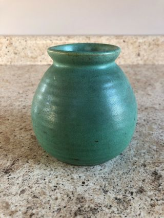 Teco Arts And Crafts Pottery Vase Matte Green Ribbed Double Signed