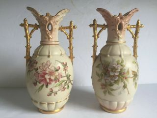 Early Pair Royal Dux Porcelain Arts Crafts Japonisme Branch Handle Vases 19thc