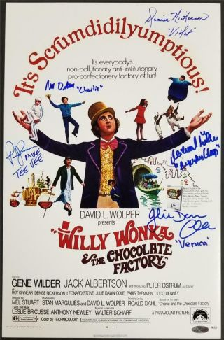 Willy Wonka Kids (5) Cast Signed 12x18 Photo Autograph Oc Dugout Hologram