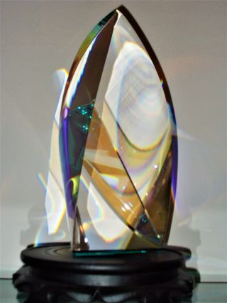 """Fine Optical Crystal Sculpture 10.  5 """" Christopher Ries Style."""