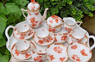Herend Queen Victoria Fortuna Demi - Tasse Set For 6 Persons Vboh