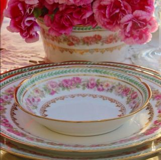 24 Pc Limoges France Dinnerware Set For 6 People Double Gold Pink