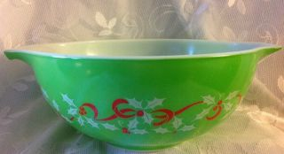 Rare Pyrex Htf Merry Christmas Happy Year Green Mixing Cinderella Bowl 443