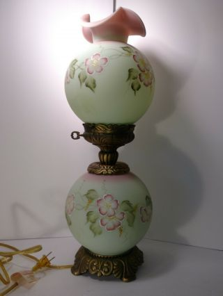 Vintage Fenton Burmese/satin Finish Floral Dual Lamp Hand Painted Signed C.  Smith