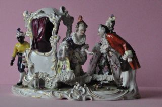 Great Porcelain Volkstedt Dresden Lace Figurine Germany Carriage Figural Group