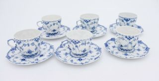 6 Cups & Saucers 1035 - Blue Fluted Royal Copenhagen Full Lace - 1:st Quality