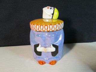 Noritake Art Deco Luster Pierrot Clown Humidor Powder Jar