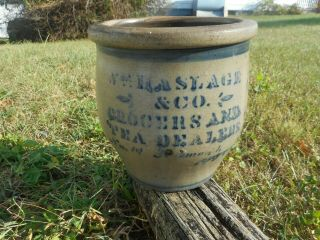 19th C.  Western Pa Stoneware Cream Pot With Advertisement For Tea Dealer