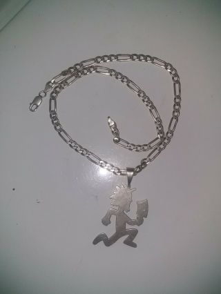 Official 2000 Hatchetman Charm Icp Sterling Silver.  Insane Clown Posse.  W/chain