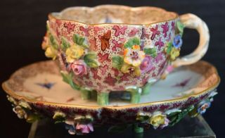 Rare Antique Meissen Porcelain Demitasse Cup And Saucer With Raised Flowers