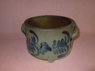 Antique 19th C Stoneware Flower Decorated Pennsylvania Small Cake Crock Remmey
