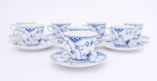 8 Cups & Saucers 719 - Blue Fluted Royal Copenhagen - Half Lace - 1:st Quality