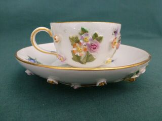 Antique Meissen Crossed Swords Hand Painted Applied Flowers & Bugs Cup & Saucer