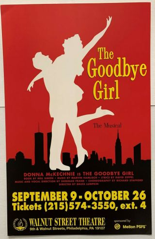 """The Goodbye Girl,  """" Very Rare """" Window Card For The Tour With Donna Mckechnie"""