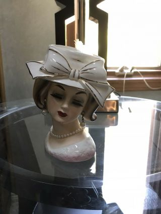 Enesco Rare Hat Lady Head Vase
