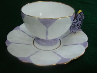 Aynsley Butterfly Handle Cup And Saucer