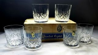 "Vintage Waterford Crystal Lismore Set Of 6 Old Fashioned 3 3/8 "" 9 Oz Tumblers"