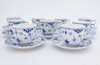 9 Cups & Saucers 756 - Blue Fluted Royal Copenhagen - Half Lace - 1:st Quality