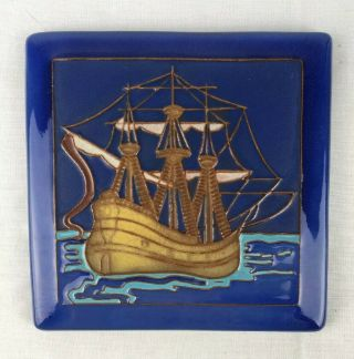 Rare California Faience Mission Arts Crafts Pottery Tile Spanish Galleon Ship