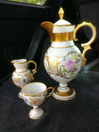 Limoges Tea Coffee Hot Chocolate Pot Hand Painted Flowers Gold Ceramic Porcelain