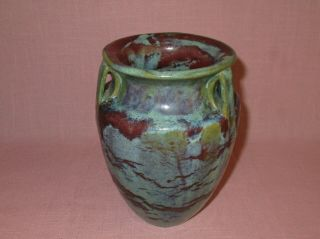 Fulper Pottery Arts & Crafts 3 Handle Bullet Vase Matte Green Blended Glaze