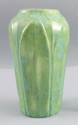 Antique Arts Crafts Hampshire Art Pottery Leaf Stem Vase Gloss Glaze,  Nr