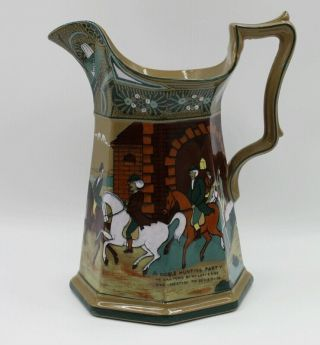 Buffalo Pottery Emerald Deldare Ware 1911 A Noble Hunting Party Pitcher Jug