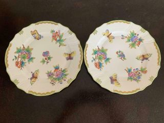 "Set Of 10 - 1/4 "" Dinner Plates 1524 Herend Queen Victoria Vbo More Available"