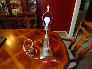 """(a) Vtg.  Stunning Rare Waterford Cut Crystal """" Tralee """" Art Deco 24 """" Table Lamp"""