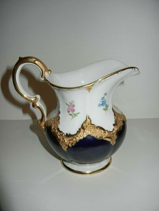 Large Meissen B Form Creamer Heavy Gold,  Cobalt And Floral 1st Quality