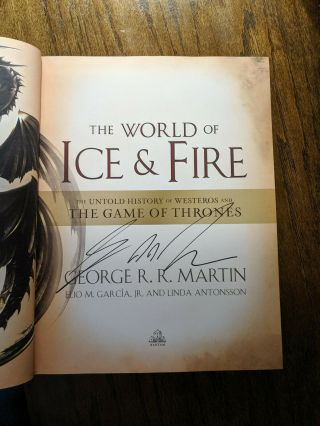 George Rr Martin Signed Game Of Thrones The World Of Ice & Fire Autograph