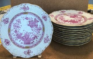 Set Of 12 Herend Hungary Raspberry Indian Basket Pattern Dessert Plates 7 - 3/8""