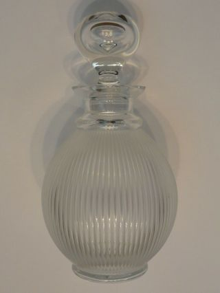 Lalique France Crystal Langeais Frosted Ribbed Decanter W/ Stopper,  Signed
