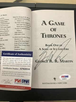 Game Of Thrones Autograph George Rr Martin Signed Book R R Auto Got Psa Dna