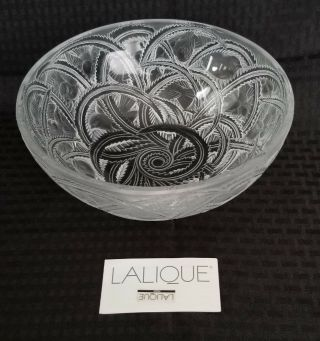 "Lalique Crystal Pinsons Coupe Finch Bowl 9 1/4 "" Diameter Signed "" Lalique France """
