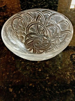"Lalique Crystal Pinsons Coupe Finch Bowl 9 1/4 "" Diameter Signed"